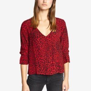 Sanctuary Animal Print Blouse - Red Leopard Size S